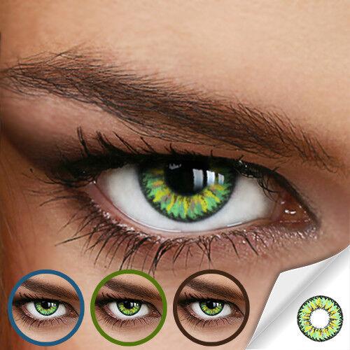Farbige Kontaktlinsen Knallig Green (Stärke von 0.00 DPT bis Minus -8.00 DPT)