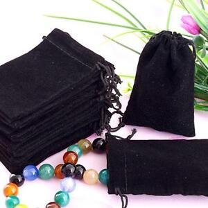 75X Black Velvet Drawstring Jewelry Gift Bags Pouches HOT