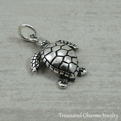 Sterling 925 Charm Pendant - 925 Sterling Silver Sea Turtle Charm - Ocean Beach Nautical Pendant NEW
