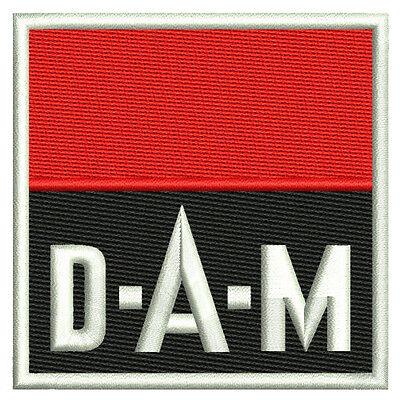 "Angelsport Fan Aufnäher ""DAM"" ca 8x8 cm"