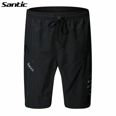 SANTIC Cycling 1/2 Leisure Shorts Sportswear Loose Fit With 3D Padded Black