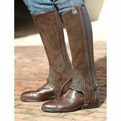 (Ovation Ribbed Suede Leather Half Chaps - Adult - BROWN- All Sizes)