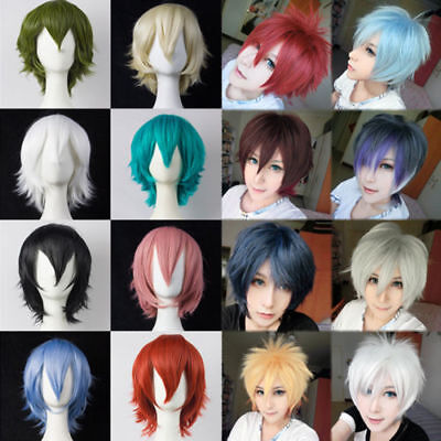 Anime Short Wig Straight Hair Cosplay Party Heat Resistant Halloween Full Wigs - Halloween Short