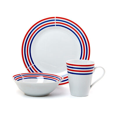 Patriotic Stoneware Dinnerware Set 12 Pc Dinner Plates Bowls Mug Red White Blue - Patriotic Dinnerware