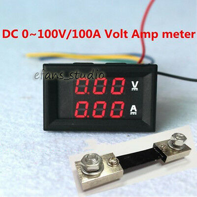 Dc100v100a Car Digital Voltmeter Ammeter Red Led Amp Volt Meter Current Shunt