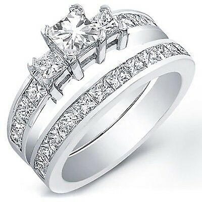 3.01 Ct. Radiant Cut Diamond Engagement Bridal Set GIA