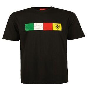 t shirt noir ferrari scuderia f1 drapeau italien homme taille s ebay. Black Bedroom Furniture Sets. Home Design Ideas
