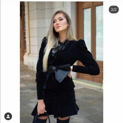 NWOT ZARA Woman Black VELVET BOW JACKET BLAZER Fashion Size XS 2489 RE:8305