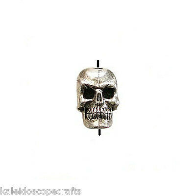 ANTIQUED SILVER PEWTER SKULL BEAD VERTICAL 5X7MM 4 BEADS SKULLS 1.4MM HOLE PB10