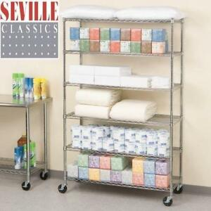 "NEW SEVILLE CLASSIC 6 TIER SHELVING 273572 202013176 CHROME FINISH WIRE SHELVES WITH WHEELS - 47.5""x18""x76"""