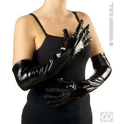 Long Black Vinyl Gloves 56cm - Dominatrix Gimp Fancy Dress Costume Accessory
