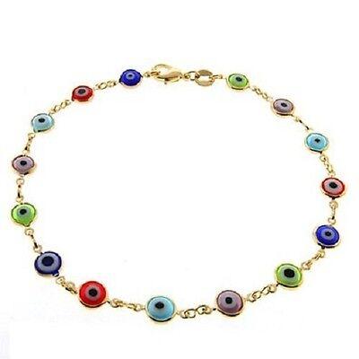 - Evil Eye Ankle Bracelet Multi Color Eyes Gold Filled 9 3/4 inch Long Anklet # 49