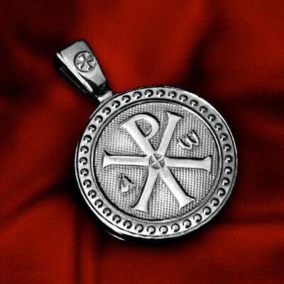 CROSS CHI-RHO JESUS CHRIST NAME BIBLE VERSE JN8:12 STERLING SILVER MEDAL PENDANT