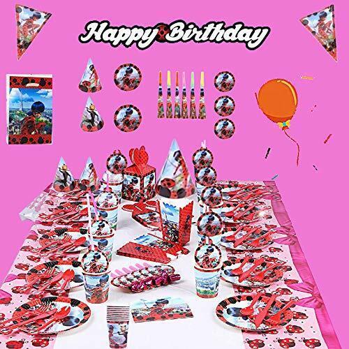145 Pcs Miraculous Ladybug Birthday Party Supplies Decorations Favors Set
