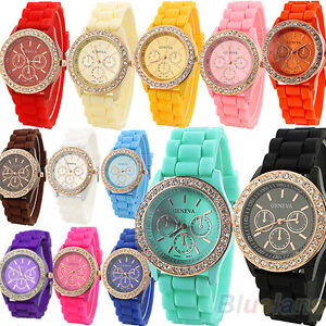 Ladies-Women-Girl-Geneva-Silicone-Quartz-Golden-Crystal-Stone-Jelly-Wrist-Watch