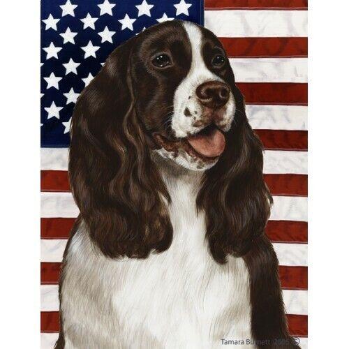 Patriotic (D2) Garden Flag - Liver and White English Springer Spaniel 320311