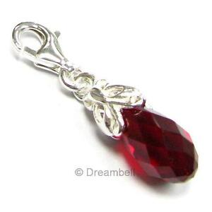 Sterling Silver Teardrop Pendant Dangle European Bead using Swarovski Elements