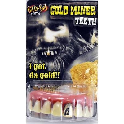 Billy Bob Gold Miner Adult Custom Fit False Fake Teeth Fancy Dress Joke Prank](Fake Gold Teeth Halloween)