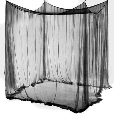 Bed Canopy Mosquito Net 4 Corner for Full Queen King Size Netting Black Bed Home ()