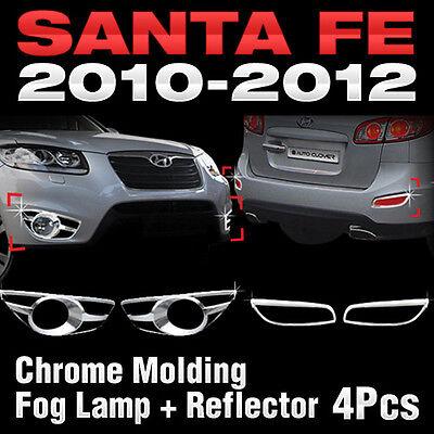 Fog Lamp + Reflex Lens Chrome Molding Kit For HYUNDAI 2010 2011 2012 Santa Fe
