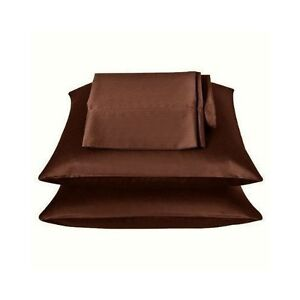 2-Pieces-of-350TC-Solid-Coffee-Brown-Soft-Silk-y-Satin-Pillow-Cases-King-Size