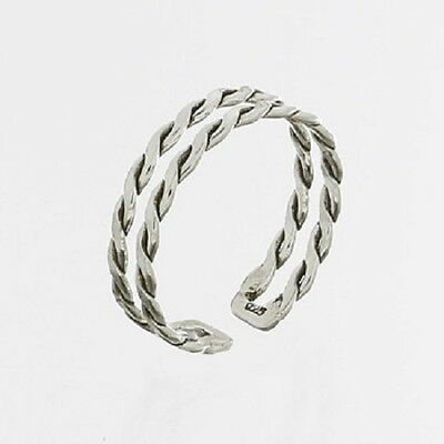 Midi silver ring knuckle ring 925 sterling braided design size 3us 4us 5us