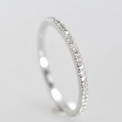 14K White Gold Over 0.19 Ct Diamond Half Eternity Wedding Band Ring