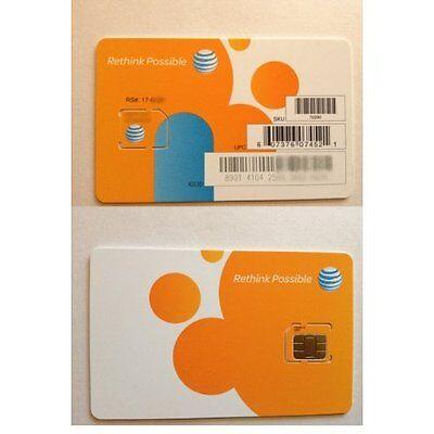 AT&T 3G/4G/LTE POSTPAID/PREPAID FACTORY MICRO SIM CARD.