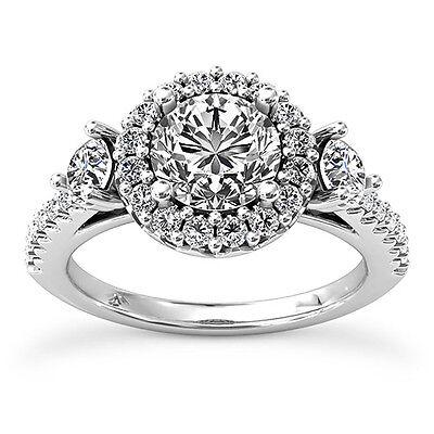 1 Carat D SI Enhanced Diamond Engagement Ring Round Cut 14K White Gold