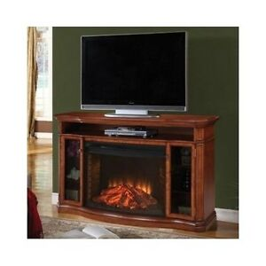 electric fireplace entertainment center wooden tv stand