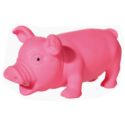 22CM SQUEAKY PIG TOY KIDS FUN PET CHEW DOG FETCH ANIMAL RUBBER GIFT PINK NEW