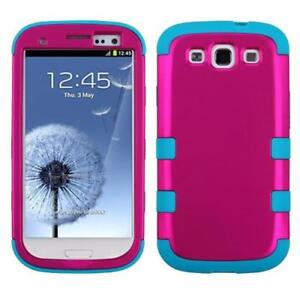 Samsung Galaxy S3 Tough Heavy Duty Rugged Rubberized Hybrid Protector Cover Case & Thin Screen Protector Film