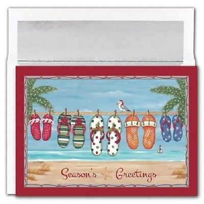 Holiday Flip Flop Beach Theme Boxed Holiday Christmas Cards - Set of (Beach Theme Christmas Cards)