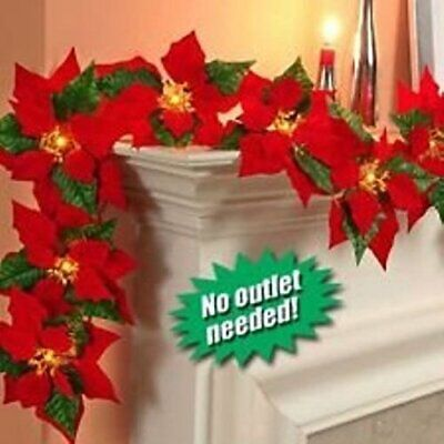 JH Smith Co Cordless Lighted Poinsettia Garland,Red Cordless Lighted Poinsettia