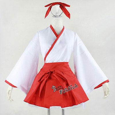 Kikyou Inuyasha Rot Cosplay Kostüm Damenkleid Kleidung Gift Karneval Kurz DE