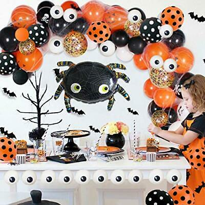 121 Pack Halloween Balloon Arch Garland Kit Black Orange Confetti Mylar Spider