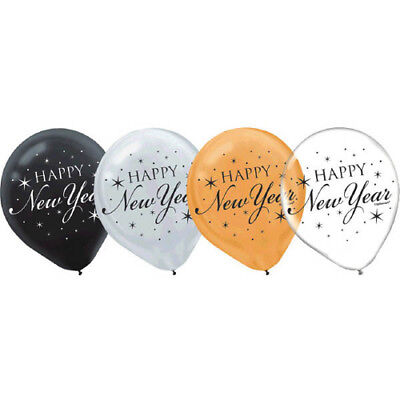 Black And Silver Party Supplies (NEW YEAR'S EVE Black Gold Silver LATEX BALLOONS (15) ~ Birthday Party)