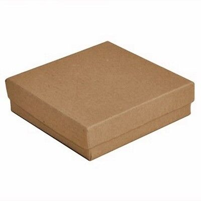 100 Kraft Brown Cotton Filled Jewelry Packaging Gift Boxes 3 12 X 3 12 X 1