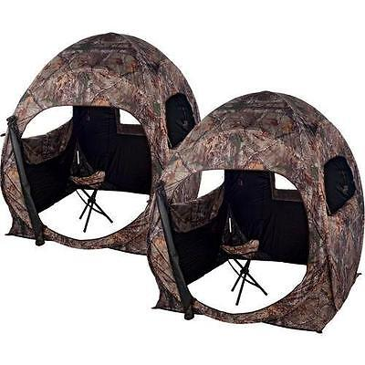 Ameristep 1RX4S048 Double Trouble Deer Turkey Hunting Ground Blind RTXTRA 2 Pack
