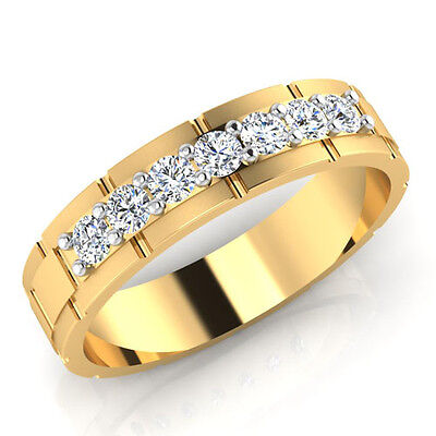 14Kt Yellow Gold Mens Genuine Wedding Band 0.36 Ct Diamond Rings Size 8 9 10