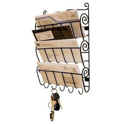 Wall Mount Letter Rack Holder Organiser Storage 5 Key Hooks Wall Mounted