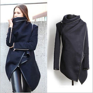 vente chaud femme blazer cardigan laine poncho cap manteau bord cuir slim veste. Black Bedroom Furniture Sets. Home Design Ideas