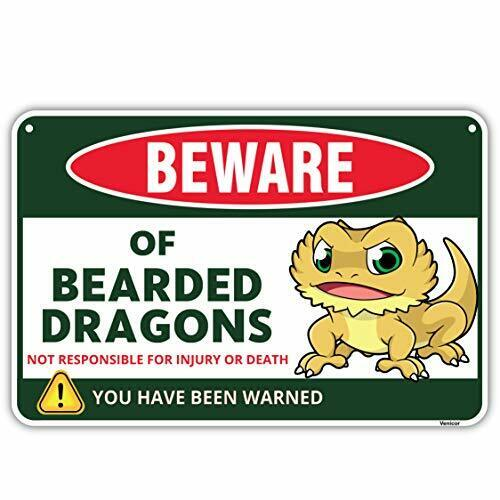 s Sign - 8x12 Inches - Aluminum - Tank Accessories - Cage Decor Bearded Dragon