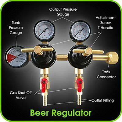 Co2 Beer Regulator Dual Pressure Keg T-style Handle - 0 To 60 Psi-0 To 3000