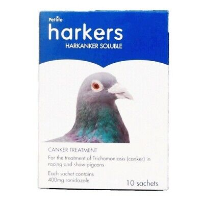 HARKERS HARKANKER SOLUBLE - TRICHOMONIASIS IN PIGEONS/BUDGIES 10 x 4G SACHETS