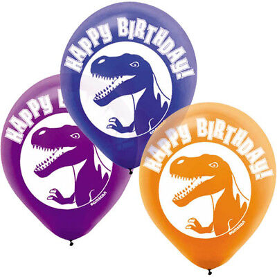 DINOSAUR Prehistoric Party LATEX BALLOONS (6) ~ Birthday Supplies Helium Decor - Prehistoric Party Supplies