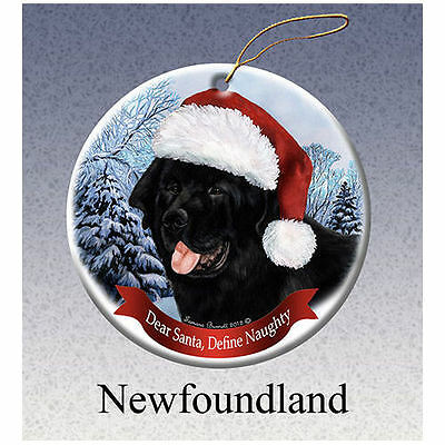 Newfoundland Newfie Howliday Porcelain China Dog Christmas Ornament