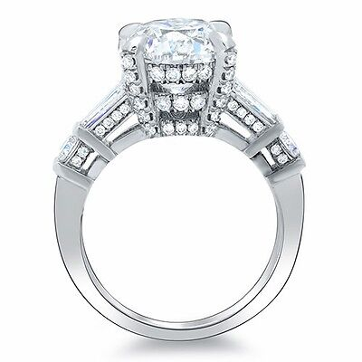 2.36 Ct. Asscher Cut, Baguette & Round Diamond Engagement Ring F,VS2 GIA 18K 1