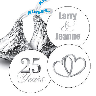 108 Silver 25th Wedding Anniversary Personalized Hershey Kiss Stickers Favors Kisses Wedding Favors