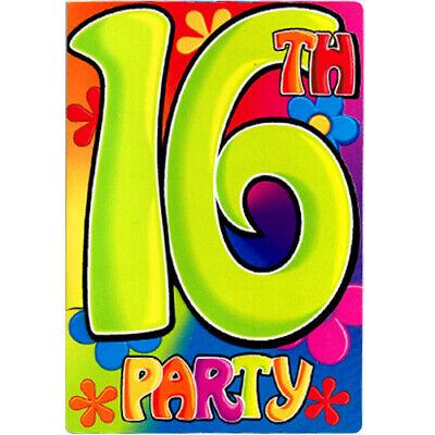 Sweet 16 Invitation (SWEET 16 Groovy INVITATIONS (8) ~ Birthday Party Supplies Invites)